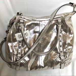 NWT! Coach Alexandra silver satchel bag purse